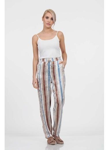 Vitrin Renkli Desenli Beli Lastikli Pantolon Taş